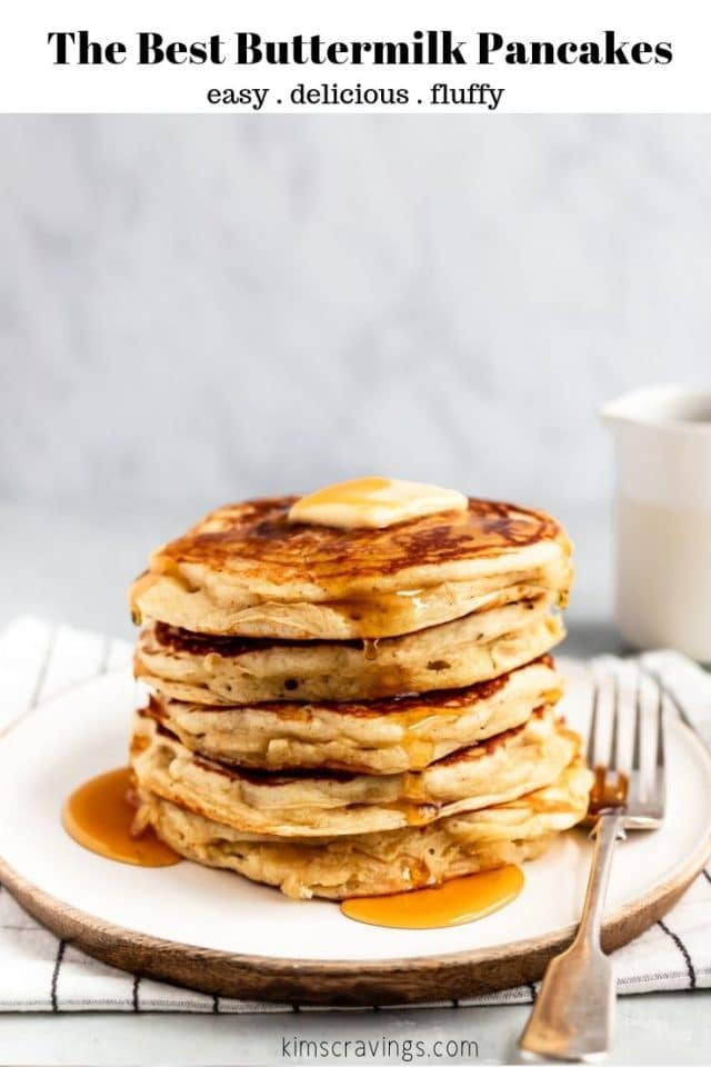 fluffy, light buttermilk pancakes served with syrup