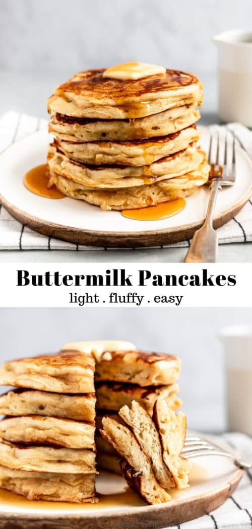 light and easy buttermilk pancakes served with butter and syrup