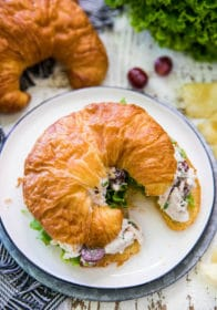 chicken salad with grapes on a croissant