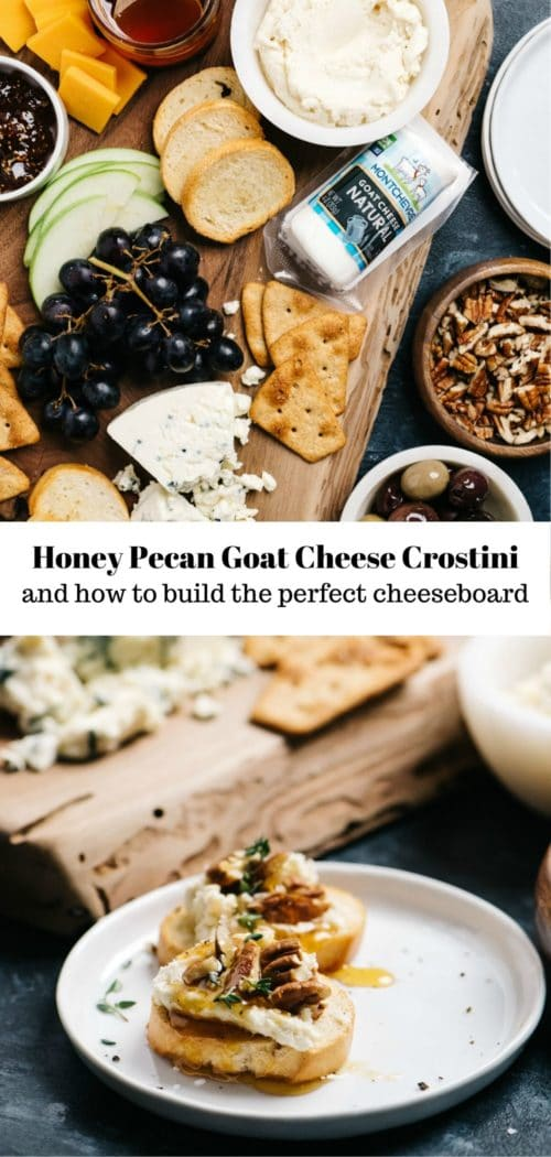 honey pecan goat cheese crostini on a plate