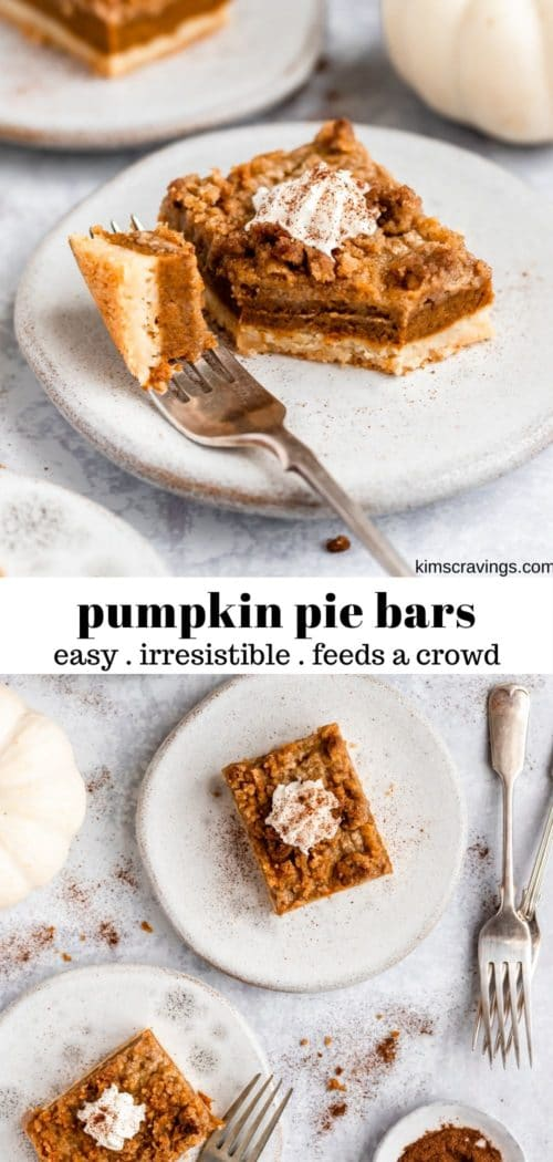 pumpkin dessert squares on a white plate with a fork