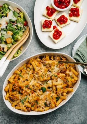three course dinner with baked ziti, salad and dessert