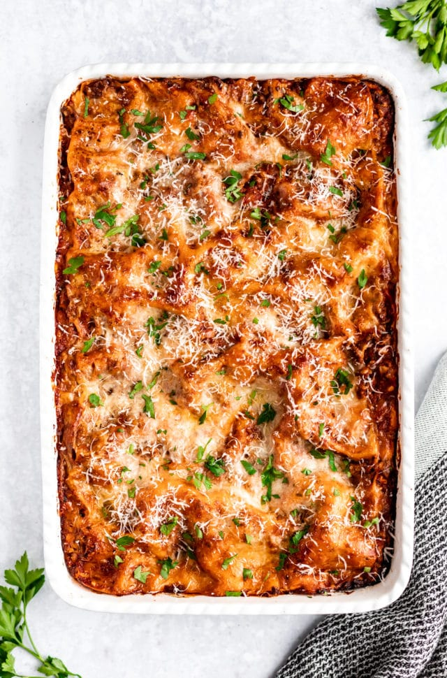 lasagna fresh out of the oven
