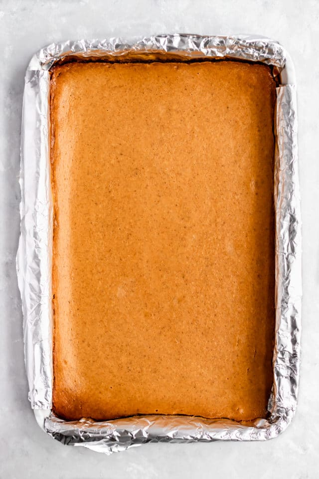 pumkin cheesecake bars out of the oven in the baking dish
