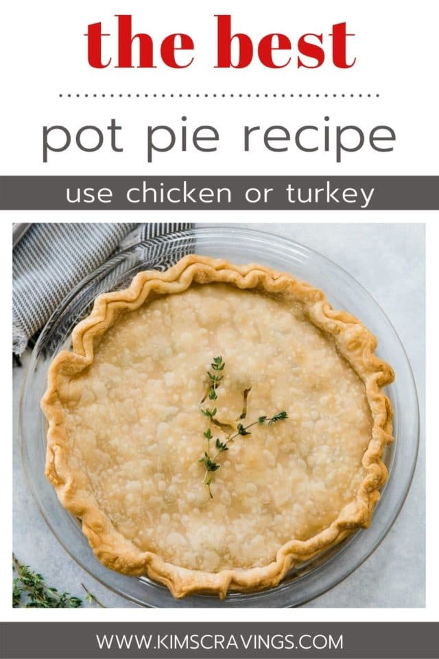 a cooked pot pie in a glass pie plate topped with fresh thyme