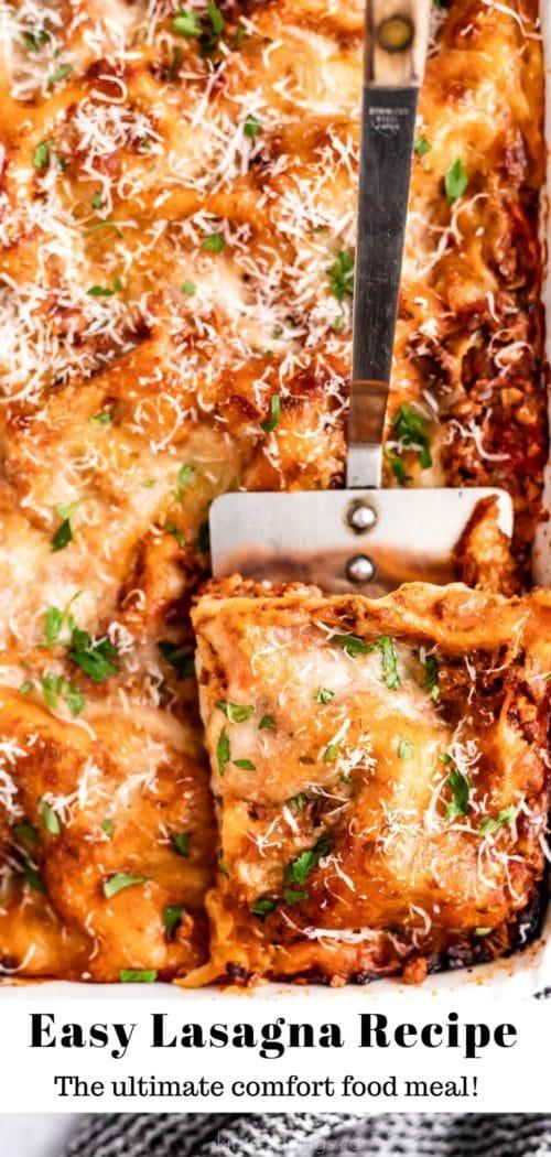 serving a slice of lasagna