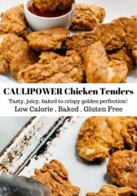 child's hand holding CAULIPOWER Chicken Tenders