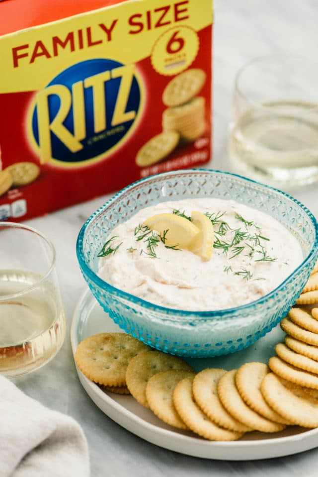 salmon dip served with wine and Ritz crackers