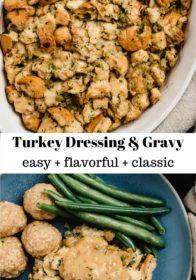 turkey dressing served with gravy