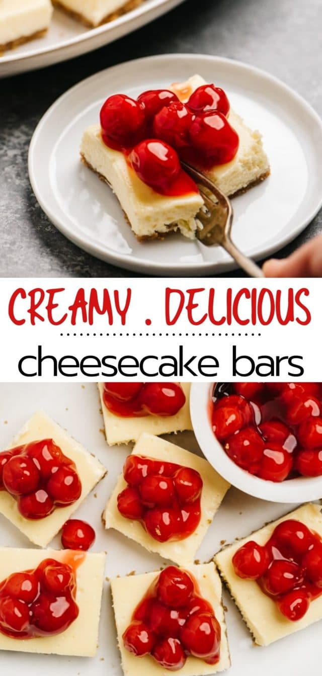 fork cutting into cherry cheesecake bar