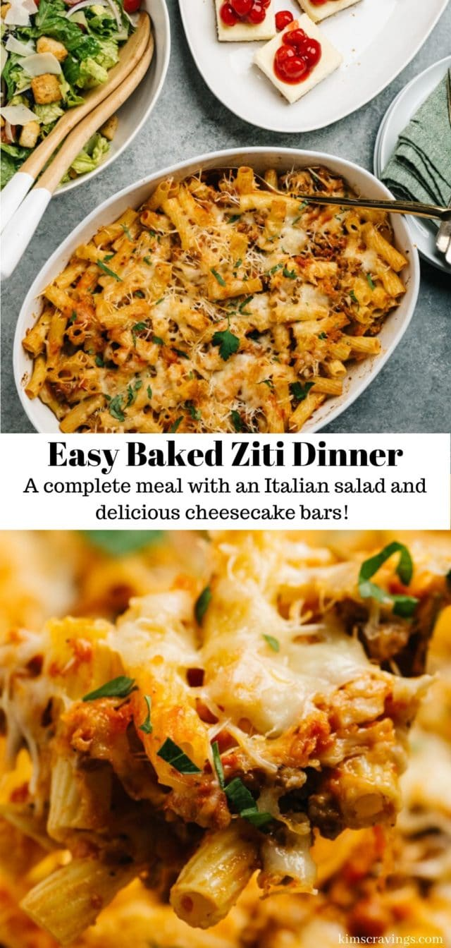 how to make a complete Italian dinner with easy baked ziti