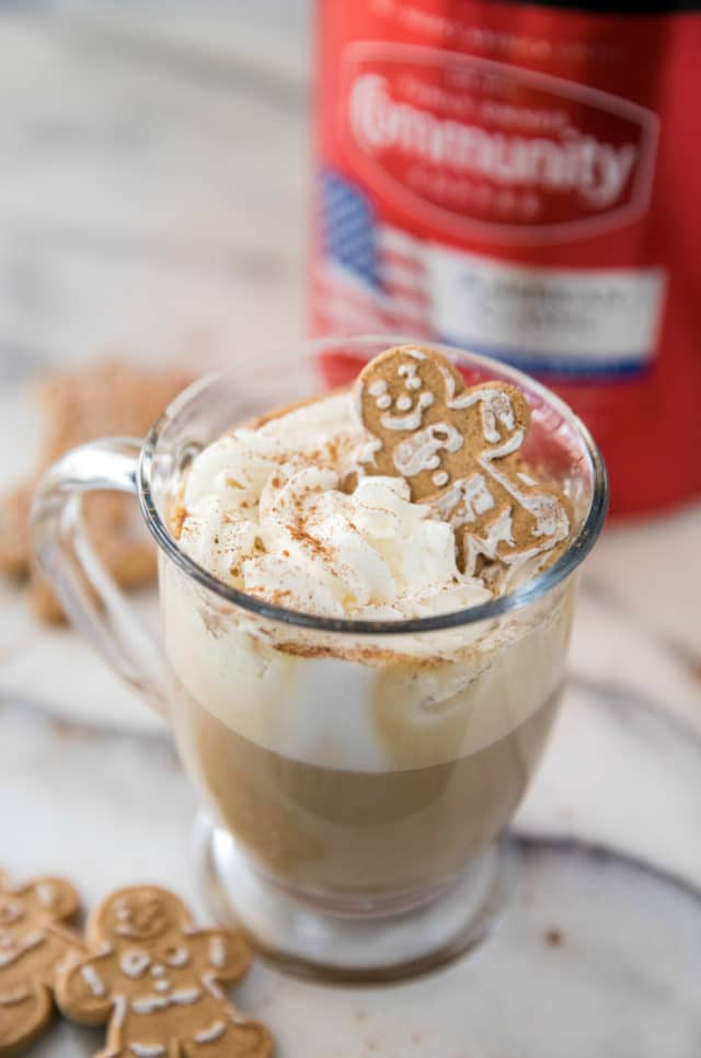 gingerbread latte served with gingerbread man cookies