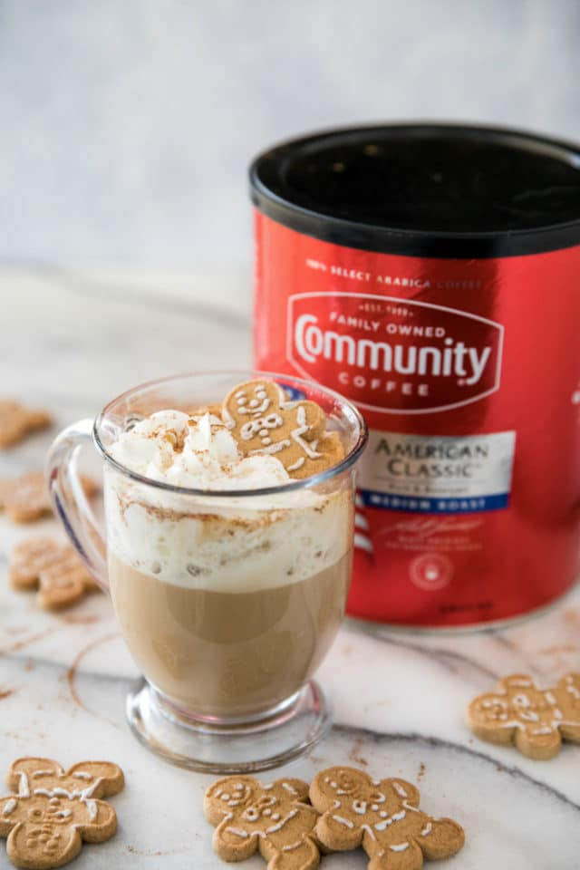 canister of Community coffee near gingerbread latte