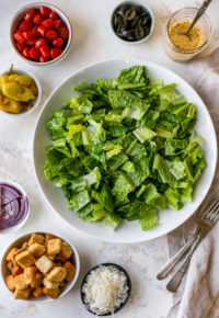Italian Salad ingredients in small bowls