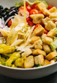 salad ingredients in a large salad bowl