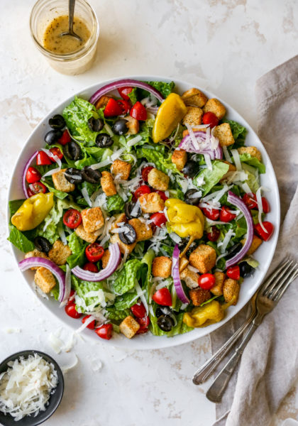 Italian Salad in a large white serving bowl