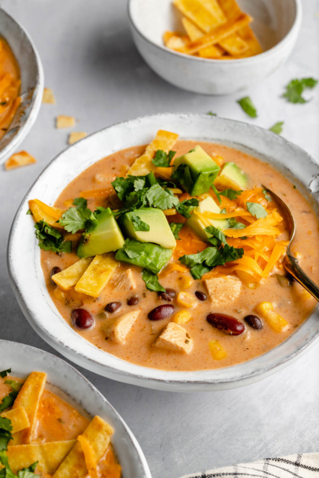 white bowl filled with creamy chicken tortilla soup and served with a spoon