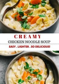 making a healthy creamy chicken noodle soup