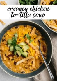 tortilla soup served with cheddar cheese and tortilla strips