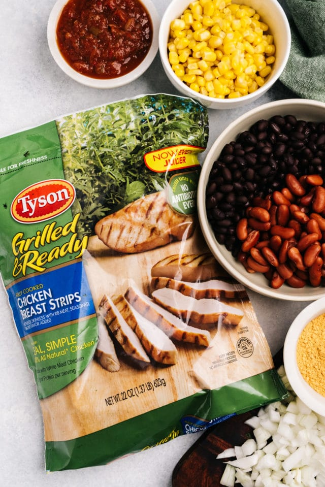 ingredients for creamy tortilla soup made with Tyson grilled chicken breast strips
