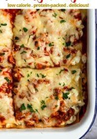 healthy lasagna cut into serving sizes