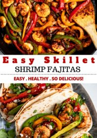 making easy skillet shrimp fajitas