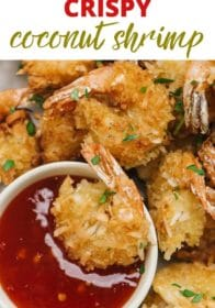 coconut shrimp dipped in sweet chili sauce