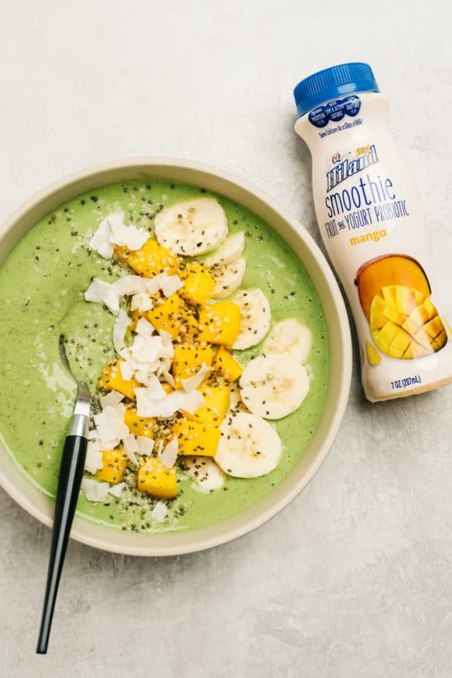 green smoothie bowl recipe served with a spoon
