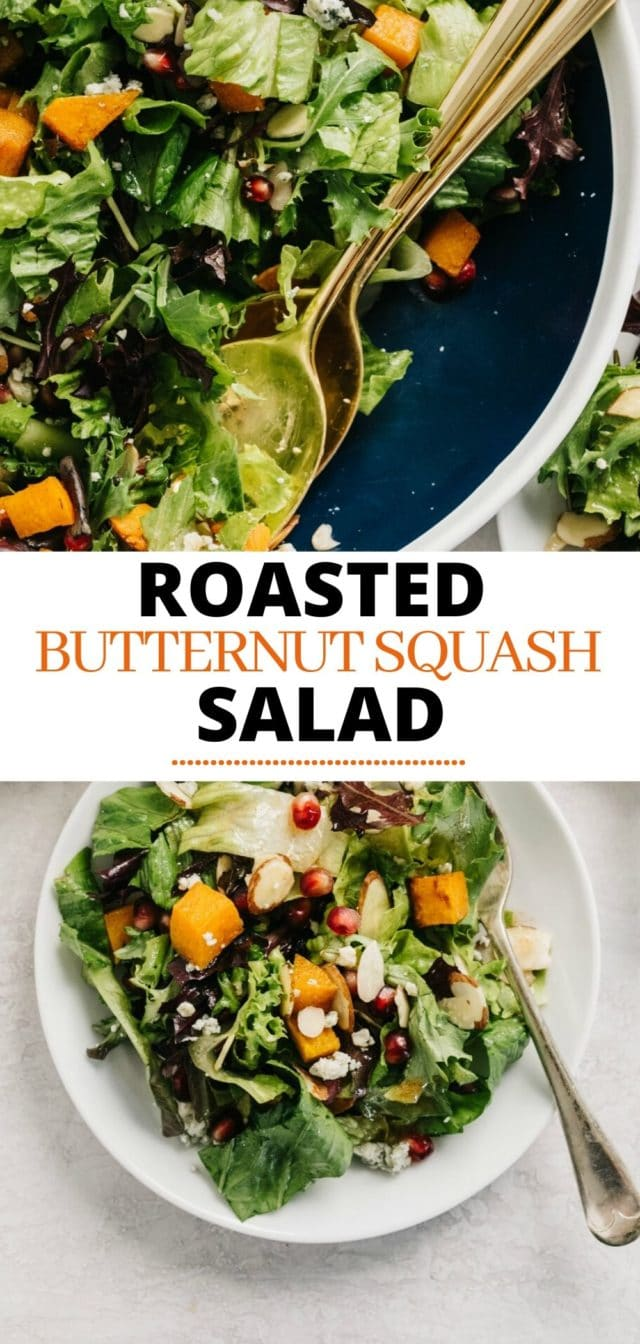 healthy roasted butternut squash salad served on a white plate