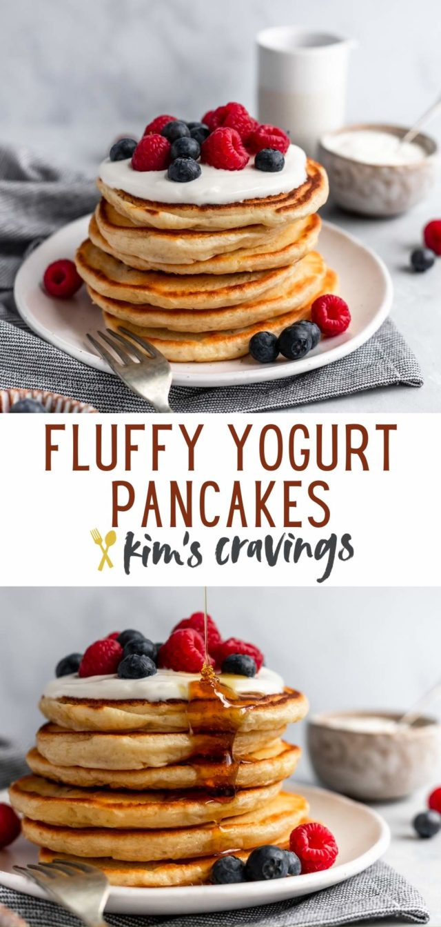 stack of fluffy pancakes topped with yogurt and berries