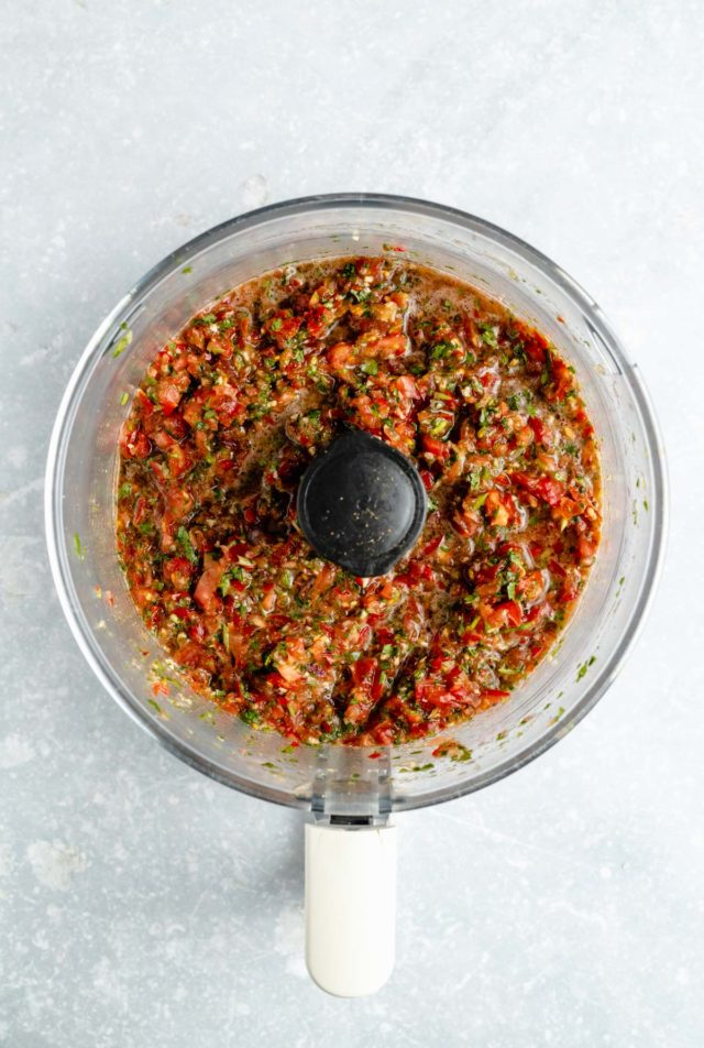 salsa blended in a food processor