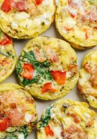 egg cups with bell pepper, spinach and bacon