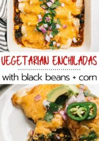 vegetarian enchiladas made with spinach and black beans