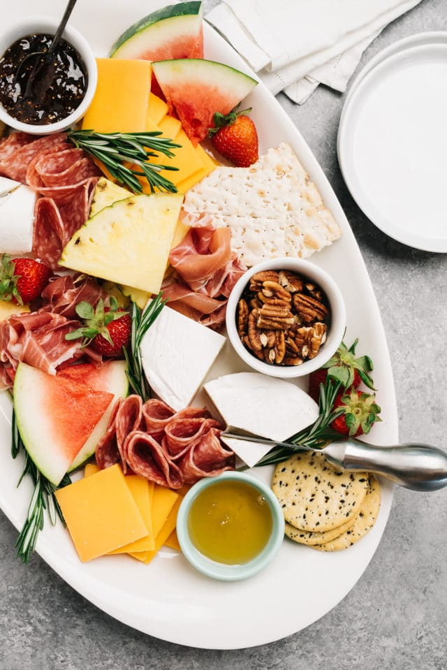 summer charcuterie board ideas with fresh fruit and cheese