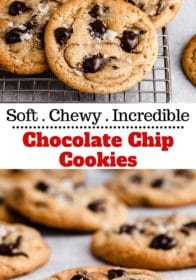 soft and chewy chocolate chip cookies on a wire cooling rack