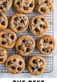 sea salted chocolate chip cookies on a wire cooling rack