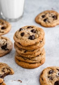 a stack of soft chocolate chip cookies