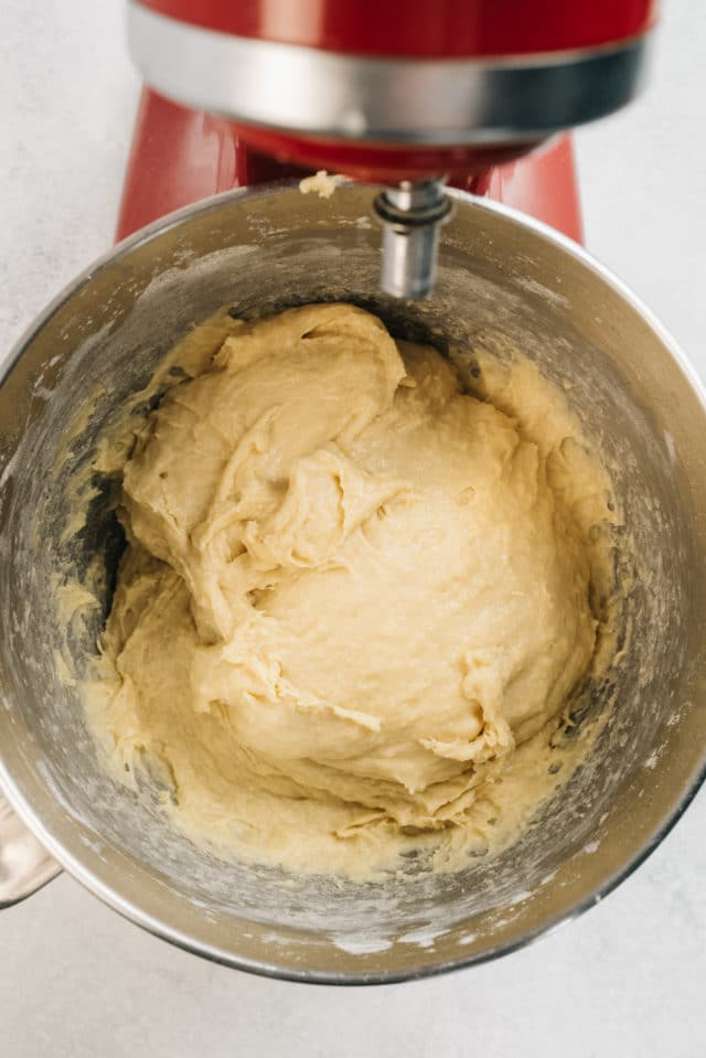 dough for homemade cinnamon rolls in a large mixing bowl