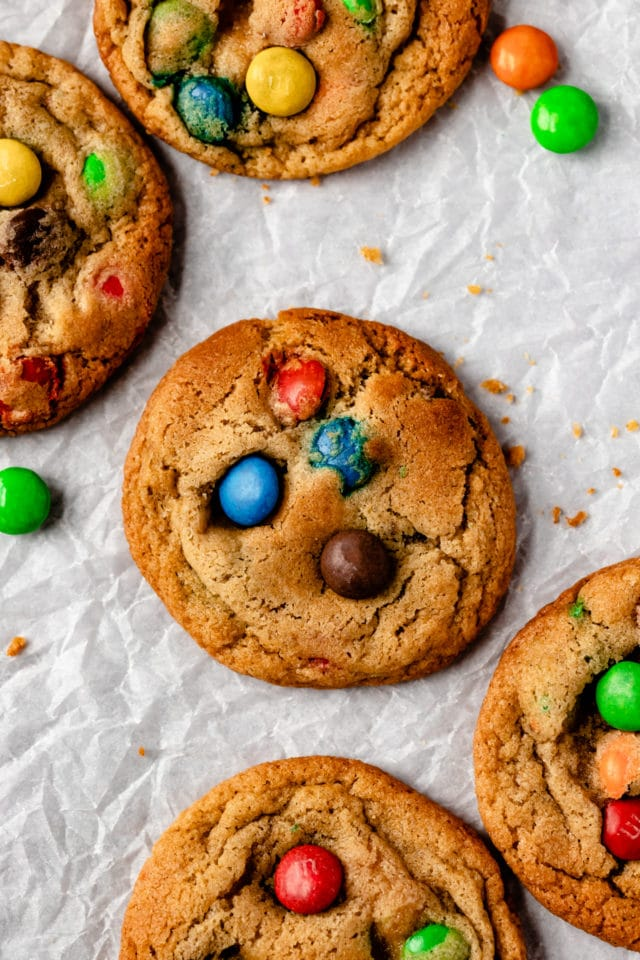 best M&M cookies baked and on parchment paper
