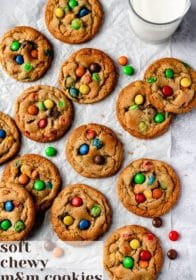 Soft + Chewy M&M Cookies!