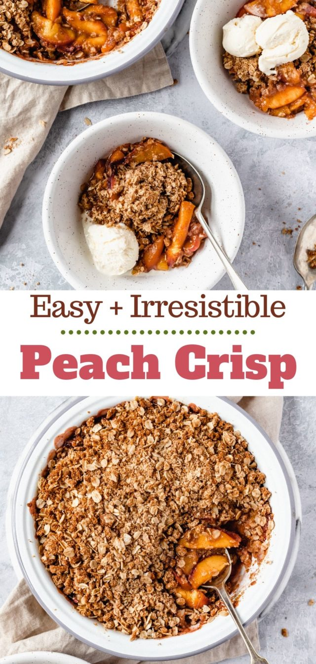peach crisp served warm with vanilla ice cream