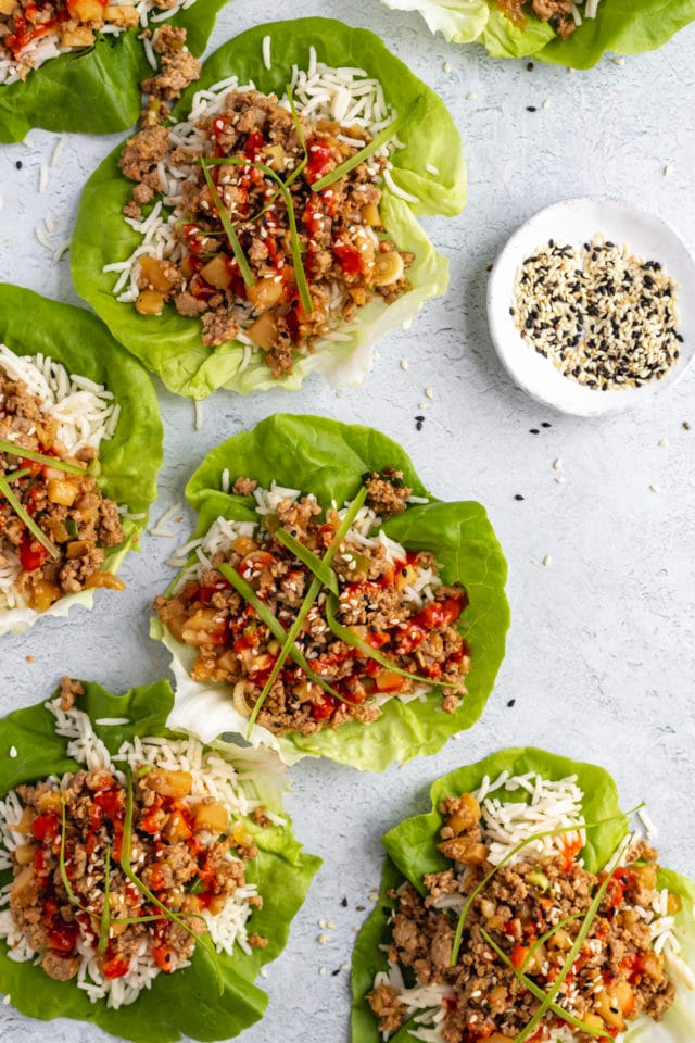 ground chicken over rice in lettuce cups