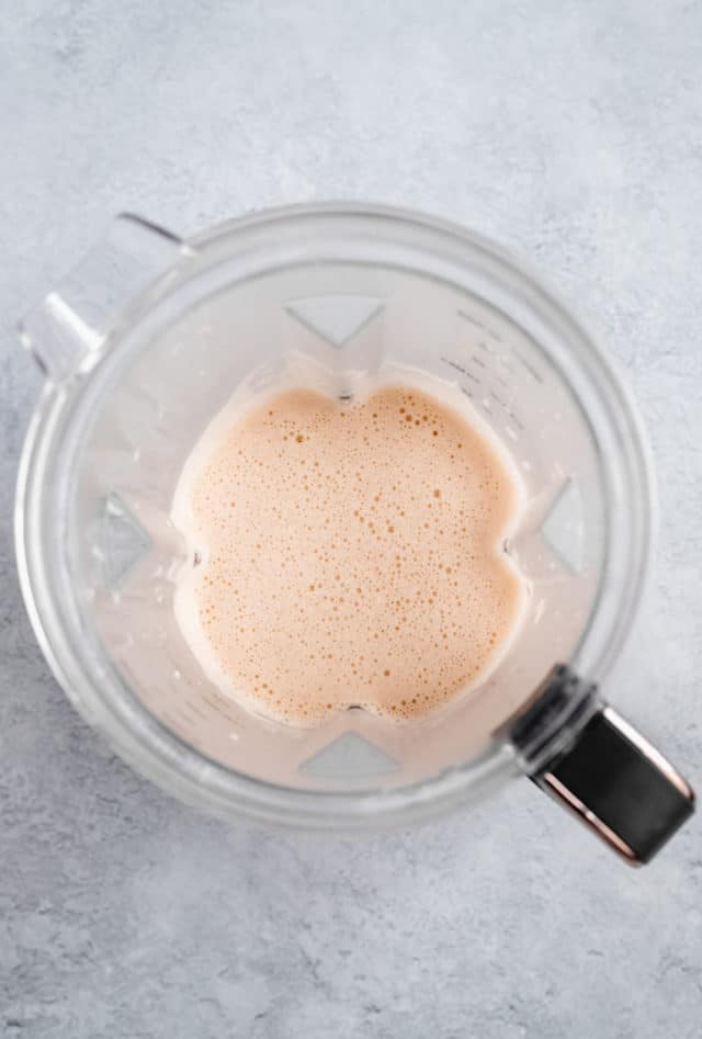 blending ingredients for dutch baby recipe in a blender