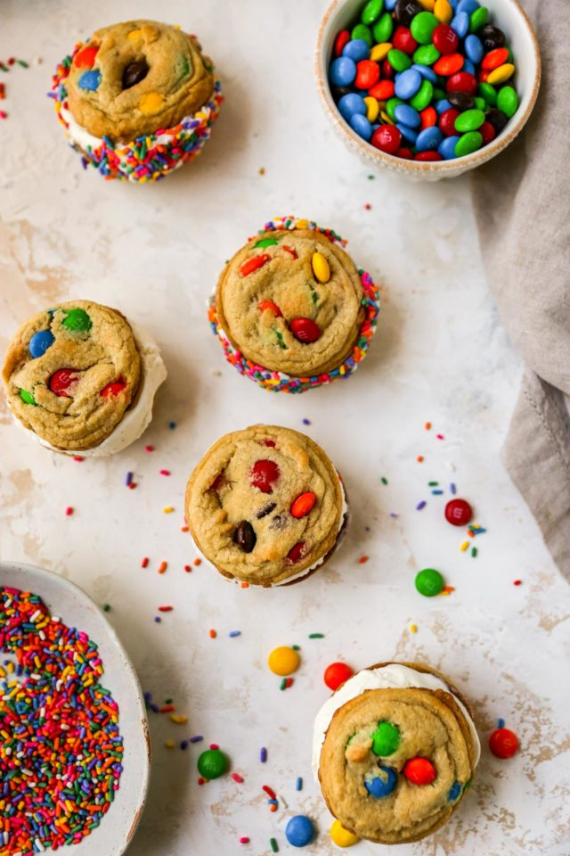 M&M ice cream cookie sandwiches with sprinkles