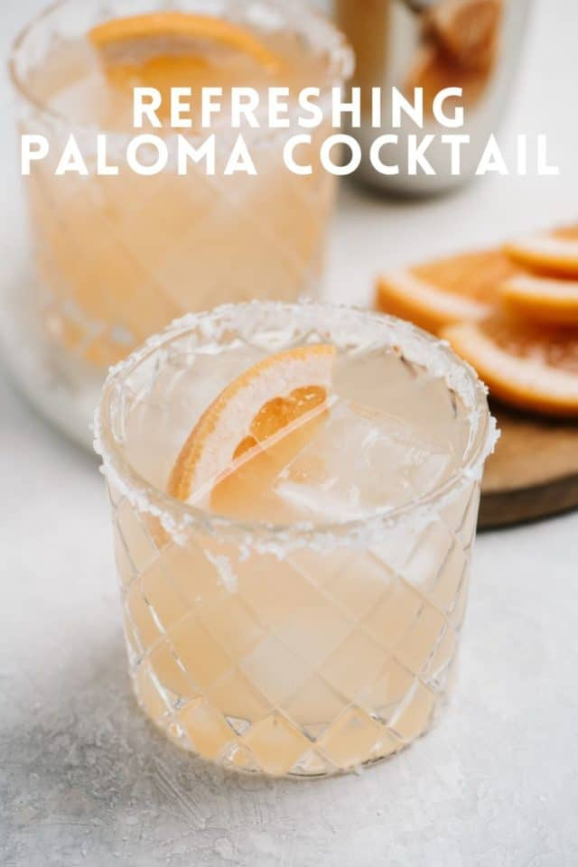 Paloma Cocktail served with a sugar lined rim and a garnish of grapefruit