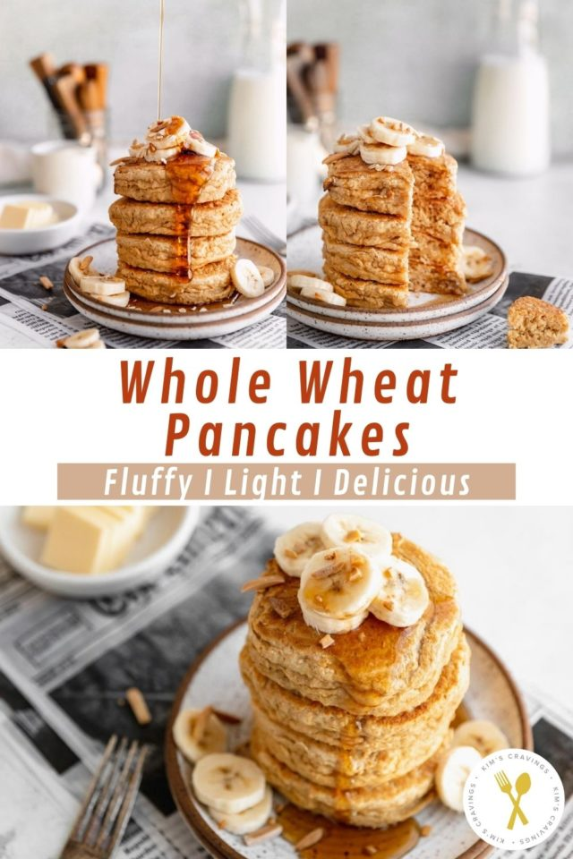 cutting out a bite of fluffy whole wheat pancakes with a fork