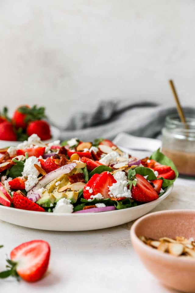salad made with strawberries, avocado and feta cheese