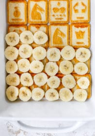 line dish with cookies and then banana slices