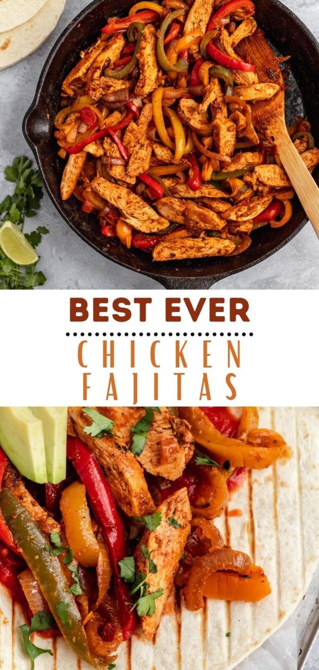 recipe for the best chicken fajitas cooked in a skillet