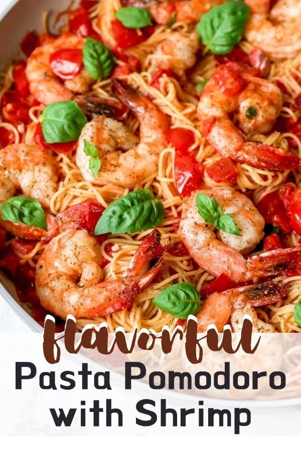 Pasta Pomodoro in a large skillet cooked with shrimp